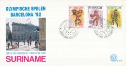 Republiek Suriname - FDC154A/B - Olympische Spelen Te Barcelona 1992 - Z 730-735 - Zomer 1992: Barcelona