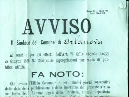 1910 - ORTA NOVA -FOGGIA -  AVVISO PER IL RADDOPPIO DELLA LINEA FERROVIARIA FOGGIA BRINDISI. FIRMA DEL SINDACO - Ferrovie