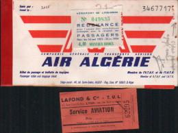 Billet Air Algerie ET BULLETINS DE BAGAGES-C.G.T.A.-1963