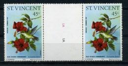 SAINT  VINCENT   1976    45c  Blue  Headed  Hummingbird   Gutter  Pair    MNH - St.Vincent (...-1979)