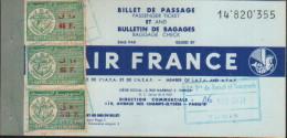 Billet Air FRANCE- TUNISIE -ALGER-1959