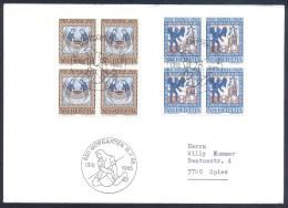 Switzerland Suisse Schweiz 1965 Cover: Pro Patria 1965 2 Blocks Of 4; Art; Die Versuchung Christi, Fischzug Der Apostel - Suisse
