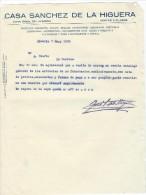 Lettre/Fabrique D´Instruments De Musique / Casa Sancez De La Higuera/Almeria/Espagne/1928     PART131 - Musique & Instruments