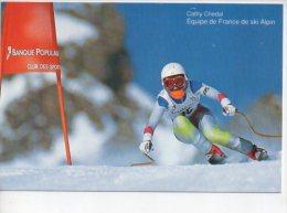REF 208 CPM Freecard Type Cart'com Ski Alpin Cathy Chedal - Cartes Postales
