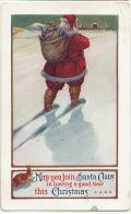 Santa Claus Pere Noel Robe Rouge Avec Lapin Used 1915 Massachussets - Santa Claus