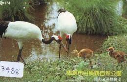 Télécarte Japon  OISEAU * GRUE En VOL *  CRANE BIRD  * VOGEL (3988) PHONECARD JAPAN * TELEFONKARTE KRANICH - Songbirds & Tree Dwellers