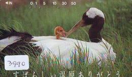 Télécarte Japon  OISEAU * GRUE En VOL *  CRANE BIRD  * VOGEL (3990) PHONECARD JAPAN * TELEFONKARTE KRANICH - Songbirds & Tree Dwellers