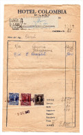 Facture 1947 Hotel COLOMBIA+ 3 Fiscaux - Italie