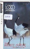 Télécarte Japon  OISEAU * GRUE En VOL *  CRANE BIRD  * VOGEL (4010) PHONECARD JAPAN * TELEFONKARTE KRANICH - Birds