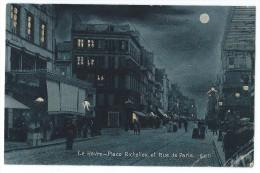 LE HAVRE (Seine Maritime) Place Richelieu Et Rue De Paris - Effet Nuit , Pleine Lune - Animée - Andere