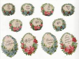 Lot De 11 Chromos Découpis    Fleurs Et Messages D'amitié - Victorian Die-cuts