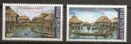 Bénin 1988 N° 663 / 4 ** Courant, Village Lacustre Ganvié, Cases, Pilotis, Canoë, Barque, Rames, Fleuve, Eau - Benin – Dahomey (1960-...)