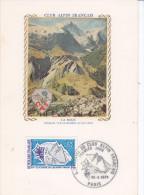Sport  Club Alpin, Meije, Carte Maximum Soie France 1974