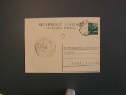 Italia 1949 Da MAFALDA Cartolina Postale £ 12 Democratica Usata Intero FEDERAZIONE COMBATTENTI E REDUCI Savoia History - 6. 1946-.. Repubblica