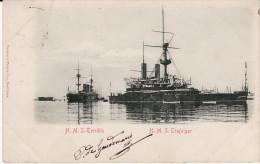CPA - H.M.S. TERRIBLE - H.M.S. TRAFALGAR - Circulé 1902 BE (Lot 2-82) - Guerre