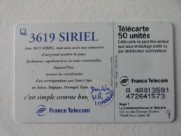 RARE : DOUBLE NUMEROTATION ET IMPRESSION SUR 3619 SIRIEL 50U - Variëteiten