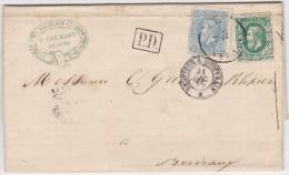 BELGIQUE   LETTRE  POUR LA FRANCE AVEC CORRESPONDANCEET CACHET D'ARRIVEE  1872 - 1869-1883 Leopold II