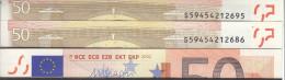 ITALIA ITALY 50 EURO 2002 DRAGHI SERIE S 59454212686 J086F5 UNC FDS 1/2 CONSECUTIVE - 50 Euro