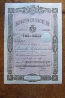 FEDE DI CREDITO_BANCO DI SICILIA_BANCONOTA_TRINACR IA_CALTANISSETTA SICILIA SICILY SICILIE SIZILIEN SICILE_ ITALY_1896 - Sonstige