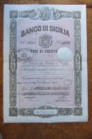 FEDE DI CREDITO_BANCO DI SICILIA_BANCONOTA_TRINACRIA_CALTANISSETTA SICILIA SICILY SICILIE SIZILIEN SICILE_ ITALY_1896 - Sonstige