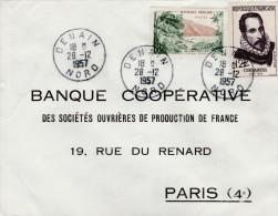 Recommandée  De Denain (Nord) Pour Paris Affranchie Rivière De Sens Guadeloupe 1125 Et Cervantes 1134 - Marcophilie (Lettres)