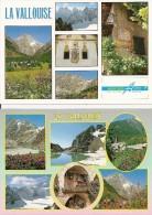 05. CPM. Haute Alpes. Vallée De La Valloise, Le Prè De Mme Carle, Lac De L'Eychauda, Les Ecrins, Le Pelvoux (2cartes) - France