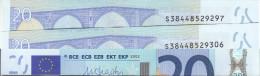 ITALIA ITALY 20 EURO 2002 DRAGHI SERIE S 38448529306 J035B2 UNC FDS 1/2 CONSECUTIVE - 20 Euro