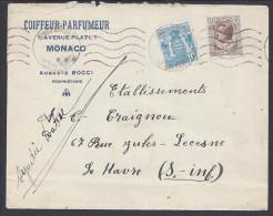 """MONACO - 1932 -  """" COIFFEUR-PARFUMEUR  AUGUSTE BOCCI """"  LETTRE DE MONACO POUR LE HAVRE - - Monaco"""