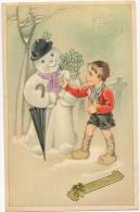 Illustrateur. Enfant En Sabot. Bonhomme De Neige Avec Parapluie & Houx. - Illustrators & Photographers