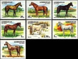 Azerbaijan 1993 Horses 7v MNH - Azerbaïjan