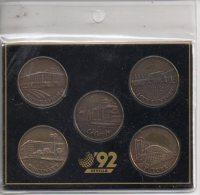 REF 1  : 5 Coins Sevilla 92 Blue Cow Medaille Medal Coin Medailles Monnaies Espagne Spain - Espagne