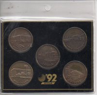 REF 1  : 5 Coins Sevilla 92 Blue Cow Medaille Medal Coin Medailles Monnaies Espagne Spain - Spanje