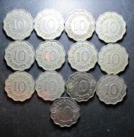 Belle Série 10 Cents ELISABETH II, 1954 à 1978, 13 Pièces, Mauritius, TB à SPL - Mauricio