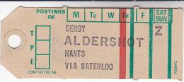Old GPO MAIL BAG TAG DERBY ALDERSHOT Via WATERLOO Post Office Royal Mail Gb Train Tpo - Trains