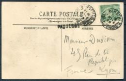 1909 France Tunisia Marseille Paquebot Postcarte Gourbi De Nomades - Covers & Documents