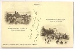 S1870 - Tonkin - Scènes De Vie - Coolies Porteurs De Cailloux - Coolies Sur Un Chantier - Viêt-Nam