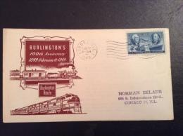 US 1949 FDC - Burlington's 100th Anniversary Railroad Cover - Vereinigte Staaten