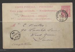1891 Postal Card Bruges (Station) Oct 10, Rec'd London Marking, Same Day - Belgium