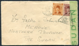 1941 Egypt Sudan Cairo - Merowe Censor Shelal-Halfa TPO Cover - Covers & Documents