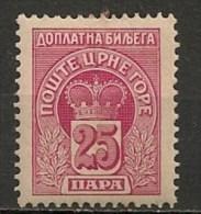 Timbres - Montenegro - Taxe - 25 P.