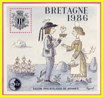 N°7 FEUILLET SOUVENIR RENNES CNEP BRETAGNE 1986 - SANS GOMME D´ORIGINE - CNEP
