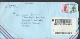 Abu Dhabi United Arab Emirates Registered Airmail 1990 Falcon 3d, 250f Postal History Cover Sent From UAE To Pakistan - Abu Dhabi