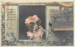 Visite Aux Petits Amis - Fillette à La Fenêtre Avec Oiseaux - Carte S.I.P. Précurseur - Autres
