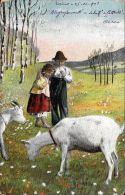[DC5120] CARTOLINA - CONTADINI CON CAPRE - Viaggiata 1903 - Old Postcard - Agricoltura