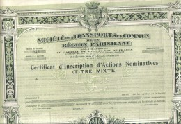 SOCIETE DES TRANSPORTS EN COMMUN REGION PARISIEENE CERTIFICAT D'ACTION NOMINATIVES Cod.doc.074 - Trasporti