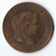 Monnaie  Isabel  II    1867  OM - Espagne