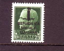 ITALIA REGNO ITALY KINGDOM 1944 REPUBBLICA SOCIALE ITALIANA   R.S.I   25 Cent.  IMPERIALE SOPRAS. Nuovo  MNH** - Nuovi