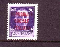 ITALIA REGNO ITALY KINGDOM 1944 REPUBBLICA SOCIALE ITALIANA   R.S.I   50  Cent  MNH** - Nuovi