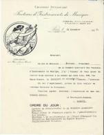Lettre/Fabrique D´instruments De Musique/Chambre Syndicale/Réunion A G / Paris/1935  PART141 - Musique & Instruments