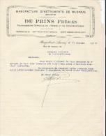 Lettre/Fabrique D´instruments De Musique/DE PRINS Fréres/Borgerhout-Anvers/Belgique/1930  PART142 - Musique & Instruments